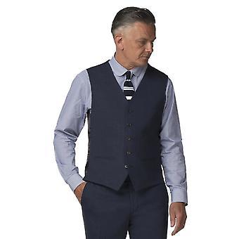 Gibson London Gibson London Blue Semi Plain Waistcoat
