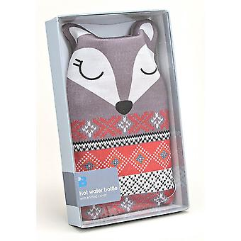 Fair Isle Animal Knitted Cover 1L Hot Water Bottle: Fox