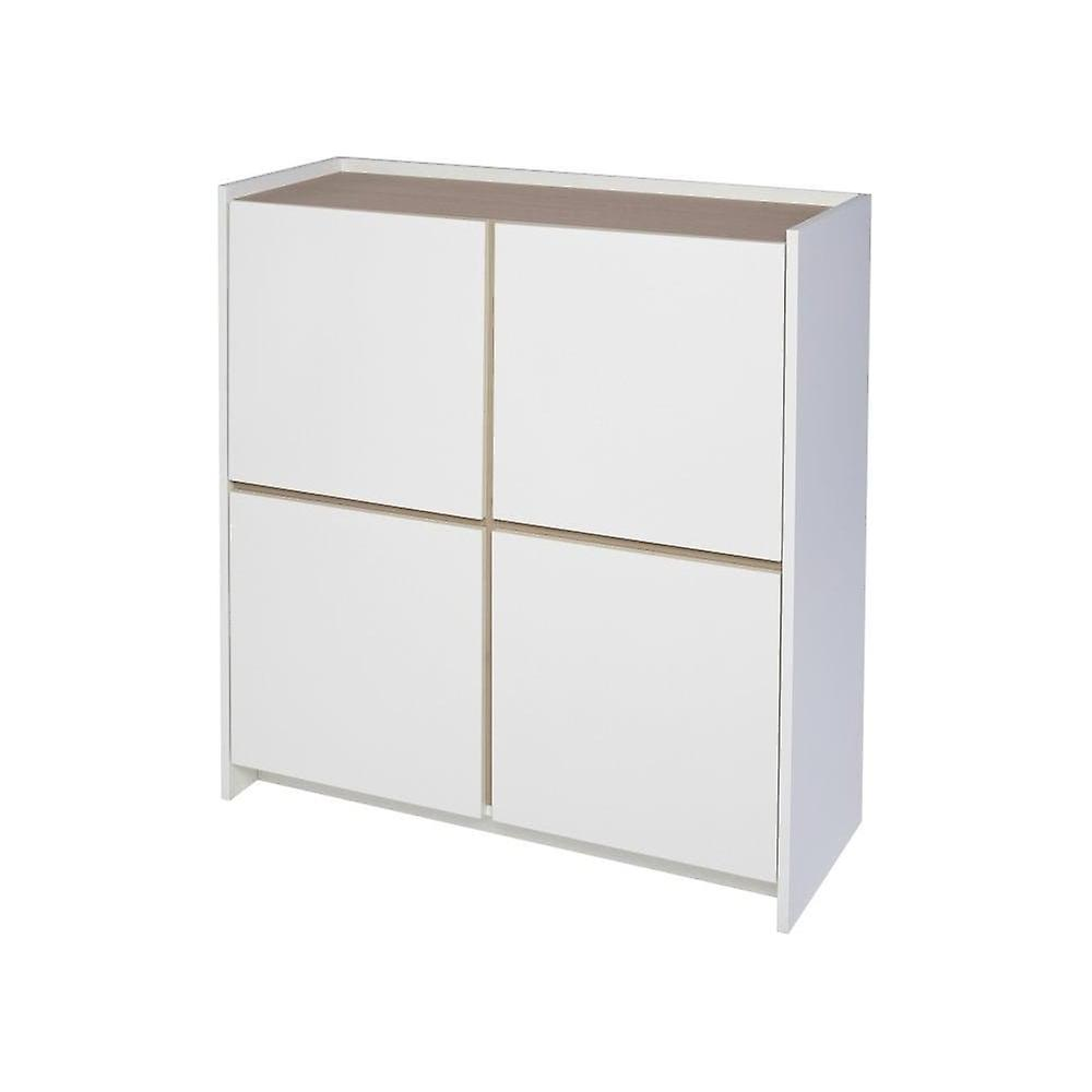 Gillmore Space White And Oak Laminated Contemporary Square Media Sideboard