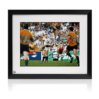 Framed Jonny Wilkinson Signed 2003 Rugby World Cup Photo: Moment Of Glory