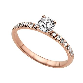 0.59 Carat D VS2 Diamond Engagement Ring 14K Rose Gold Solitaire w Accents 4 Prongs Round