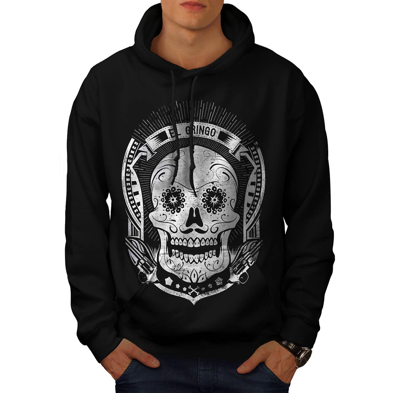 Mexican Skull Death Evil Monster Men Black Hoodie | Wellcoda