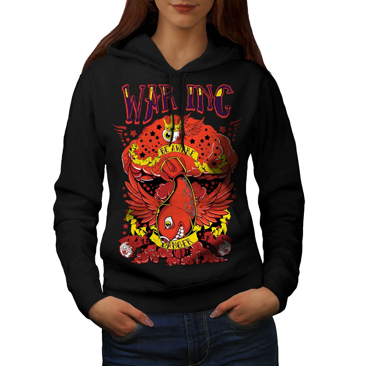 War Danger Beware Fish Extreme Women Black Hoodie | Wellcoda