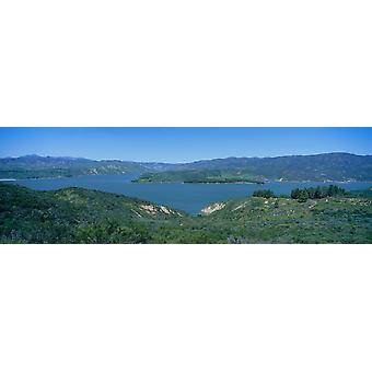 Panoramic view of Lake Castaic with green rolling hills and mountains near Interstate 5 north of Los Angeles in springtime California Poster Print