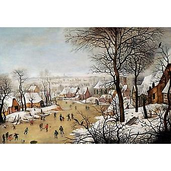 A Winter Landscape With Skaters and a Bird Trap Poster Print by  Pieter the Elder Bruegel