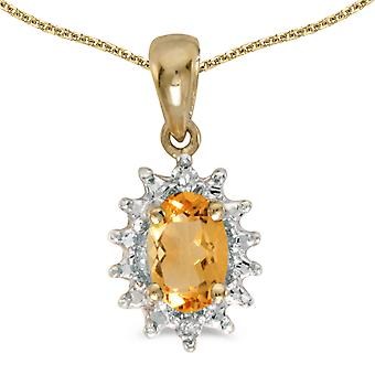 10k Yellow Gold Oval Citrine And Diamond Pendant with 16