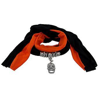 黒とオレンジ スカル ペンダント スカーフジュ エリー