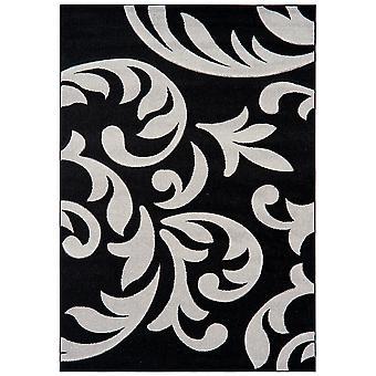 Valera Black & Grey Modern Damask Rug