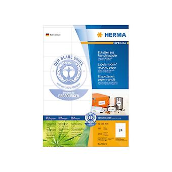 Labels natural white 70x36 HERMA A4 recycled 2400 pcs.