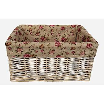 Extra Large Antique Wash Garden Rose Lined Storage Basket