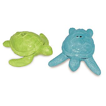 Green and Blue Sea Turtles Salt and Pepper Shaker Set Ceramic