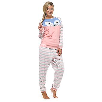 Ladies Foxbury dyr motiv stripete lang Fleece Twosie Pyjama Sleepwear