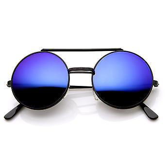 Limited Edition färg spegel Flip-Up Lens runda cirkeln Django solglasögon