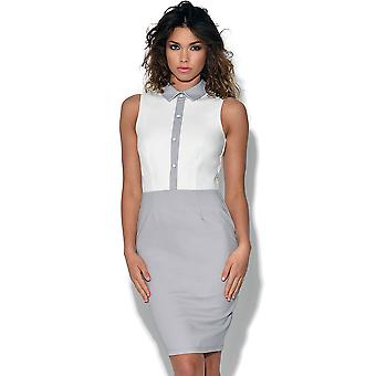 Paper Dolls Grey and White Button Dress