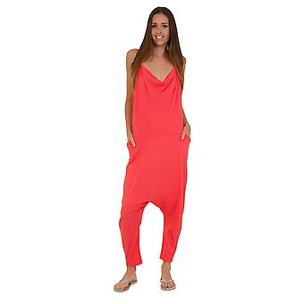 Jersey Jumpsuit - Coral Pink Drop Crotch Lightweight Stretch Relaxed Fit Playsui