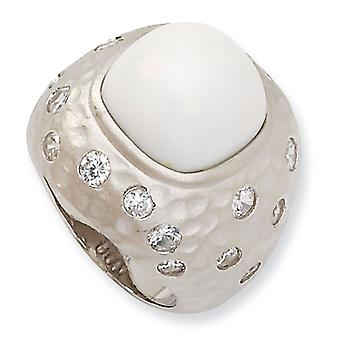 Sterling Silver Satin Simulated White Agate and Cubic Zirconia Ring - Ring Size: 6 to 8