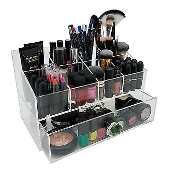 OnDisplay Gracie Deluxe Acrylic Cosmetic/Jewelry Organization Station w/Geode knobs