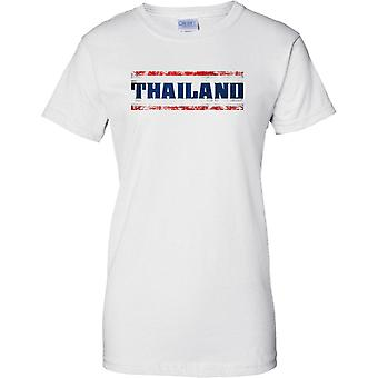 Thailand Grunge Country Name Flag Effect - Ladies T Shirt