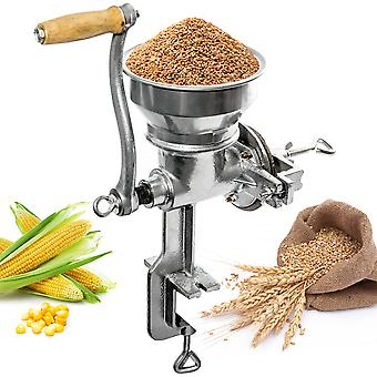 Professional Manual Grain Grinder - Table Clamp Corn Mill with Hopper, Cast Iron