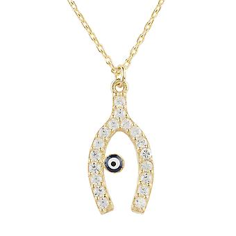 Wishbone and Evil Eye Necklace Gold