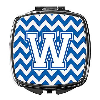 Carolines Treasures  CJ1045-WSCM Letter W Chevron Blue and White Compact Mirror