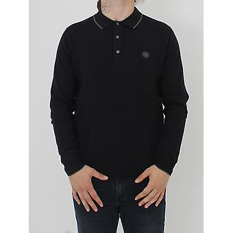 Pretty Green Tilson L/Sleeve Knitted Polo - Black