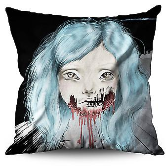 Girl Scary Creepy Horror Linen Cushion Girl Scary Creepy Horror | Wellcoda