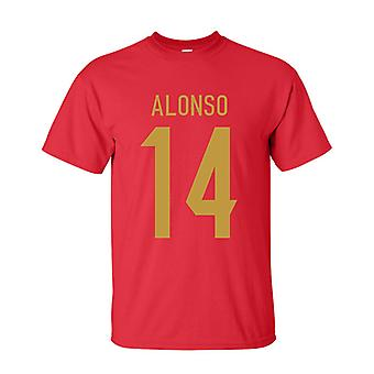 Xabi Alonso Spanje held T-shirt (rood)