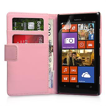 Yousave Accessories Nokia Lumia 925 Leather-Effect Wallet Case - Pink