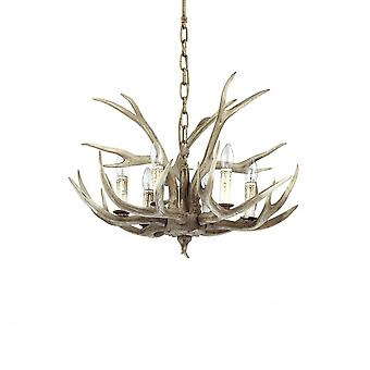 Ideal Lux Chalet Deer Antler Chandelier, 6 Light Bulb