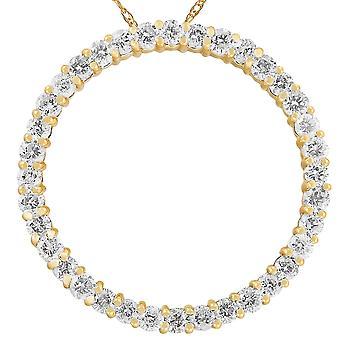 2ct Circle Ewigkeit 14K Gelb Gold Diamant Anhänger