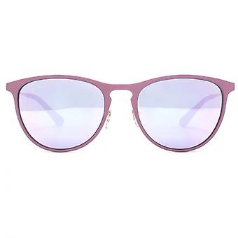 Ray-Ban Junior Metal Keyhole Round Sunglasses In Pink Purple Mirror