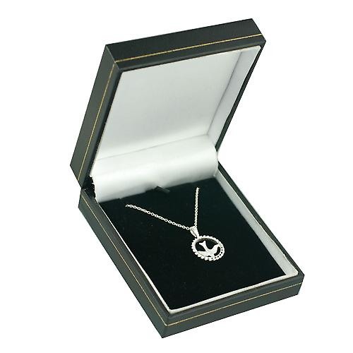 Silver 15mm round Confirmation Pendant with a rolo Chain 16 inches Only Suitable for Children