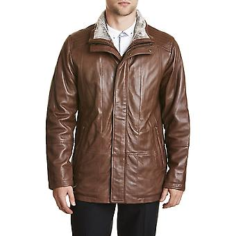 Mens Ultra Soft Fur Leather Coat Brown