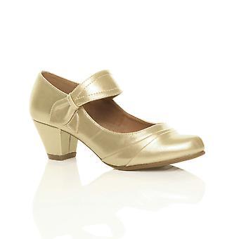 Ajvani kvinners midt hæl mary jane stroppen smart arbeid komfort retten sko