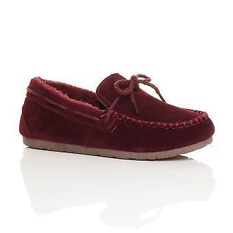 Ajvani das mulheres de pele de carneiro do falso pelo flexível único barco sapatos mocassins chinelos