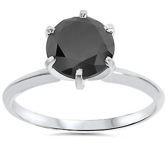 2 1 / 3ct 14 K Weißgold schwarzer Diamant Solitär Verlobungsring