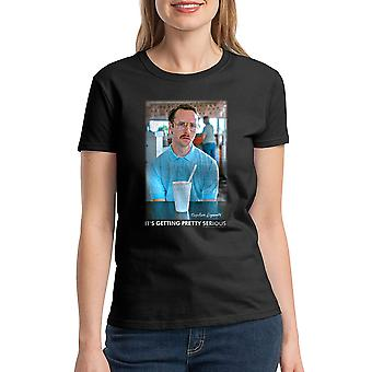 Napoleon Dynamite Getting Serious Faded Women's Black Funny T-shirt