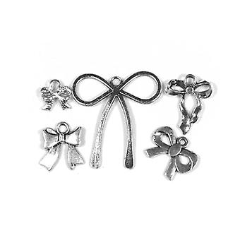 Packet 5 x Antique Silver Tibetan 13-32mm Bowknot Charm/Pendant Set ZX17180