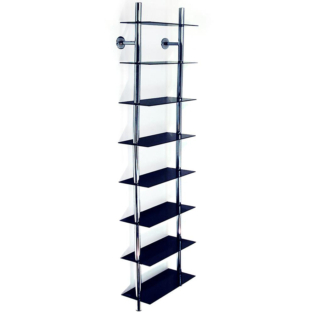 Maxwell - Wall Mounted 8 Tier Glass 240 Cd / 160 Dvd / Blu-ray Storage Shelf - Black