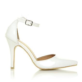 NEW YORK White Patent Ankle Strap Pointed High Heel Court Shoes