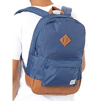 Herschel Navy-Tan Synthetic Leather Heritage - 21.5 Litre Laptop Backpack