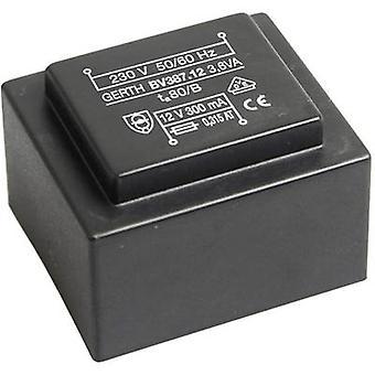 PCB mount transformer 1 x 230 V 2 x 6 V AC 3.60 VA 300 mA PTG381202 Gerth