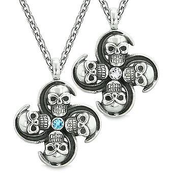 Übernatürliche Schädel Amulett Kräfte Liebe Paare Beste Freunde blau weißen Kristallen Anhänger Halsketten