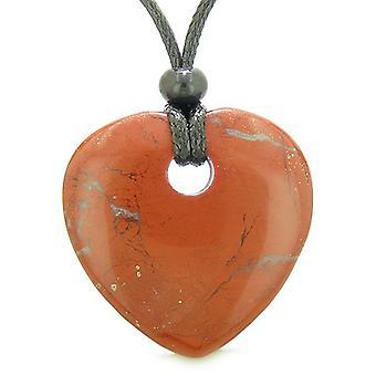 Amulet stort heldig hjerte doughnut formet charme rød Jasper Gemstone vedhæng åndelig Healing halskæde
