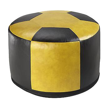Football cushion leatherette yellow / black Ø 50/34 cm