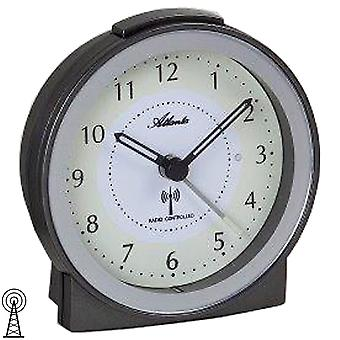 アトランタ 1855/4 目覚まし時計ラジオのラジオ時計無煙炭銀光が静かにスヌーズします。
