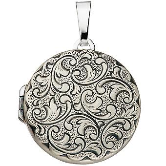 Medallion round for 2 photos 925 sterling silver matt followers to open