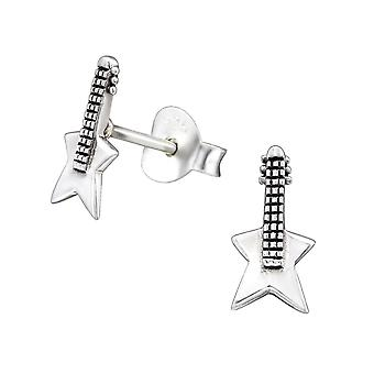 Guitar - 925 Sterling Silver Plain Ear Studs - W29016x