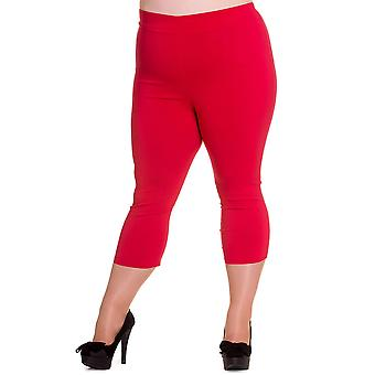 Hell Bunny Red Tina Capri Trousers 3XL